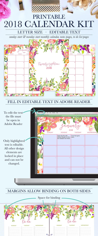 Printable Desk Calendar 2018 Monthly Calendar Printable 2018 Desk Calendar Flowers