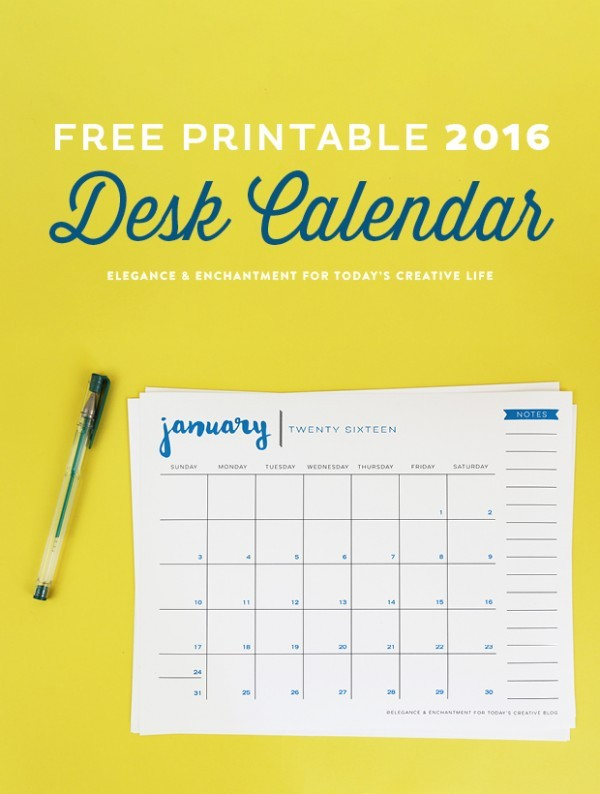 Free Printable 2016 Desk Calendar Today s Creative Life