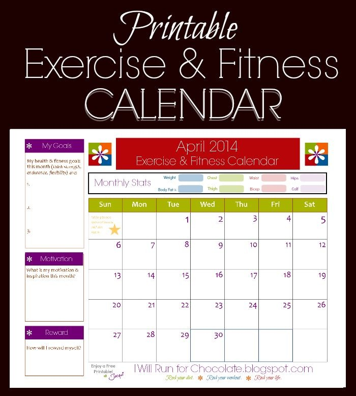Printable Diet Calendar Free Printable Calendar to Track Your Workouts and Health