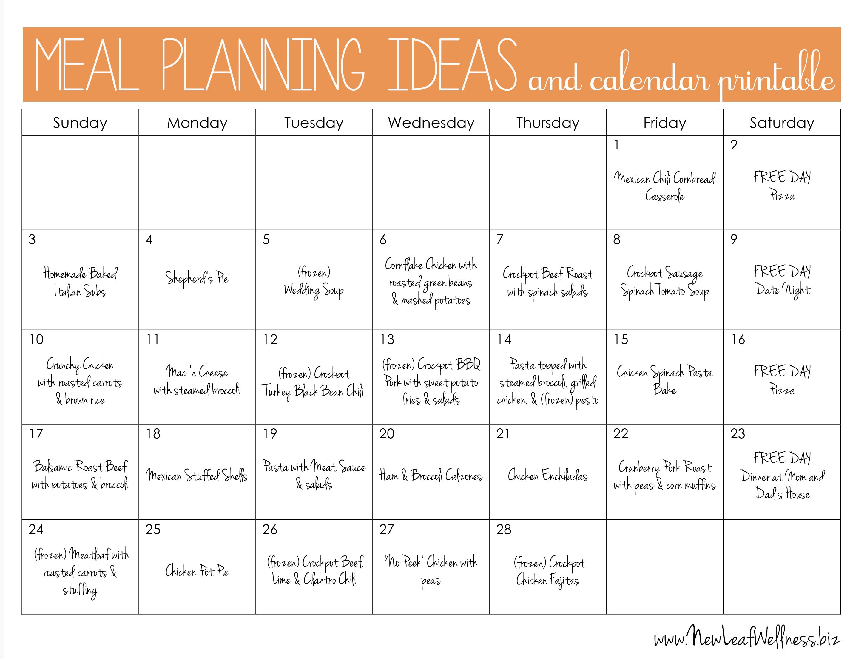 Printable Diet Calendar Meal Plan for Two Weeks and Only Grocery Shop once – New