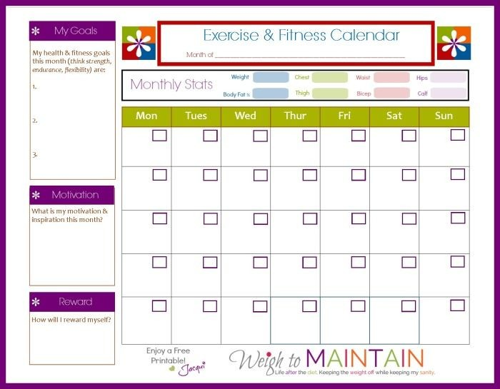 New and Improved Printable Fitness Calendar