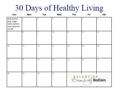 Printable Fitness Calendar 30 Days of Healthy Living