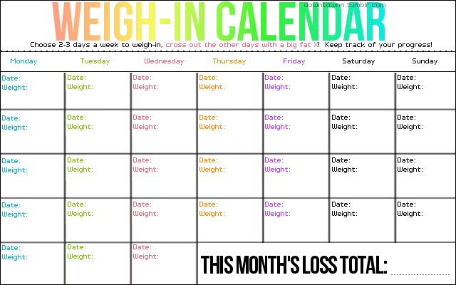 Printable Diet Calendar Weigh In Calendar Only Weigh In 1 2 Times A Week so You