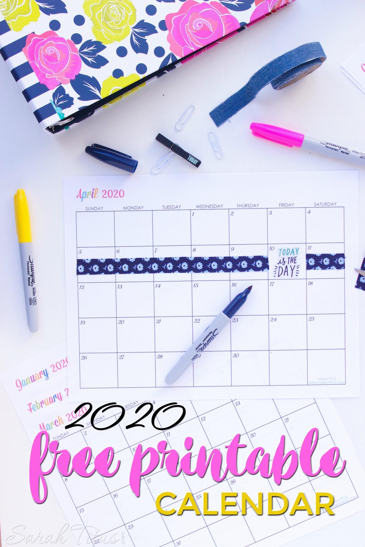 Custom Editable 2020 Free Printable Calendars Sarah Titus