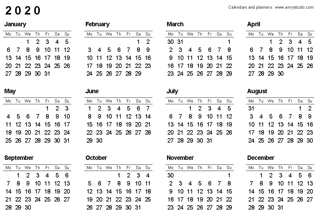 Free Printable Calendars and Planners 2019 2020 2021
