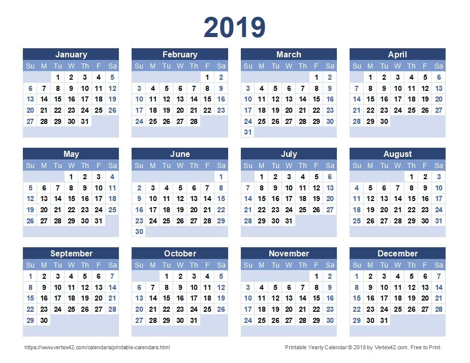 Printable Full Year Calendar 2019