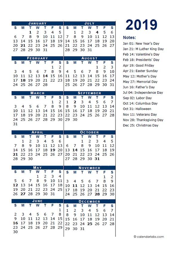 Printable Full Year Calendar 2019 2019 Full Year Calendar Template Half Page Free