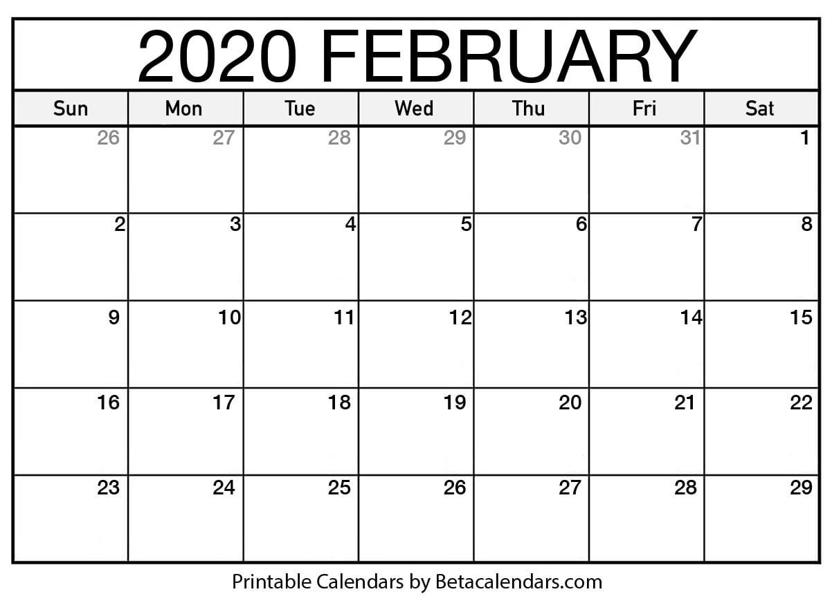 Printable Monthly Calendar 2020 Blank February 2020 Calendar Printable Beta Calendars