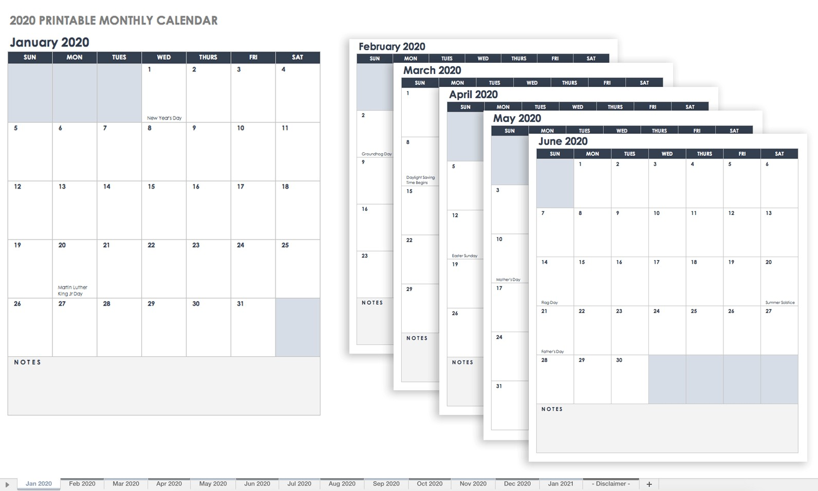 Printable Monthly Calendar 2020 Make A 2018 Calendar In Excel Includes Free Template