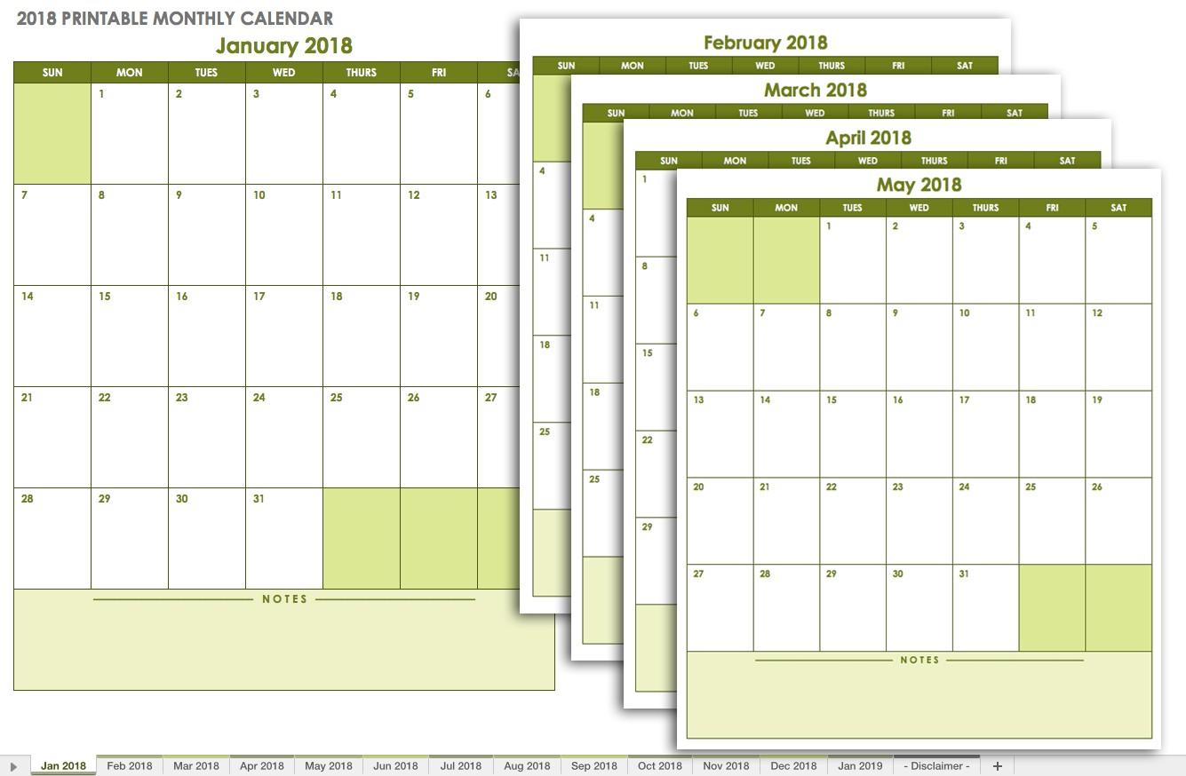 Printable Monthly Calendar Templates 15 Free Monthly Calendar Templates