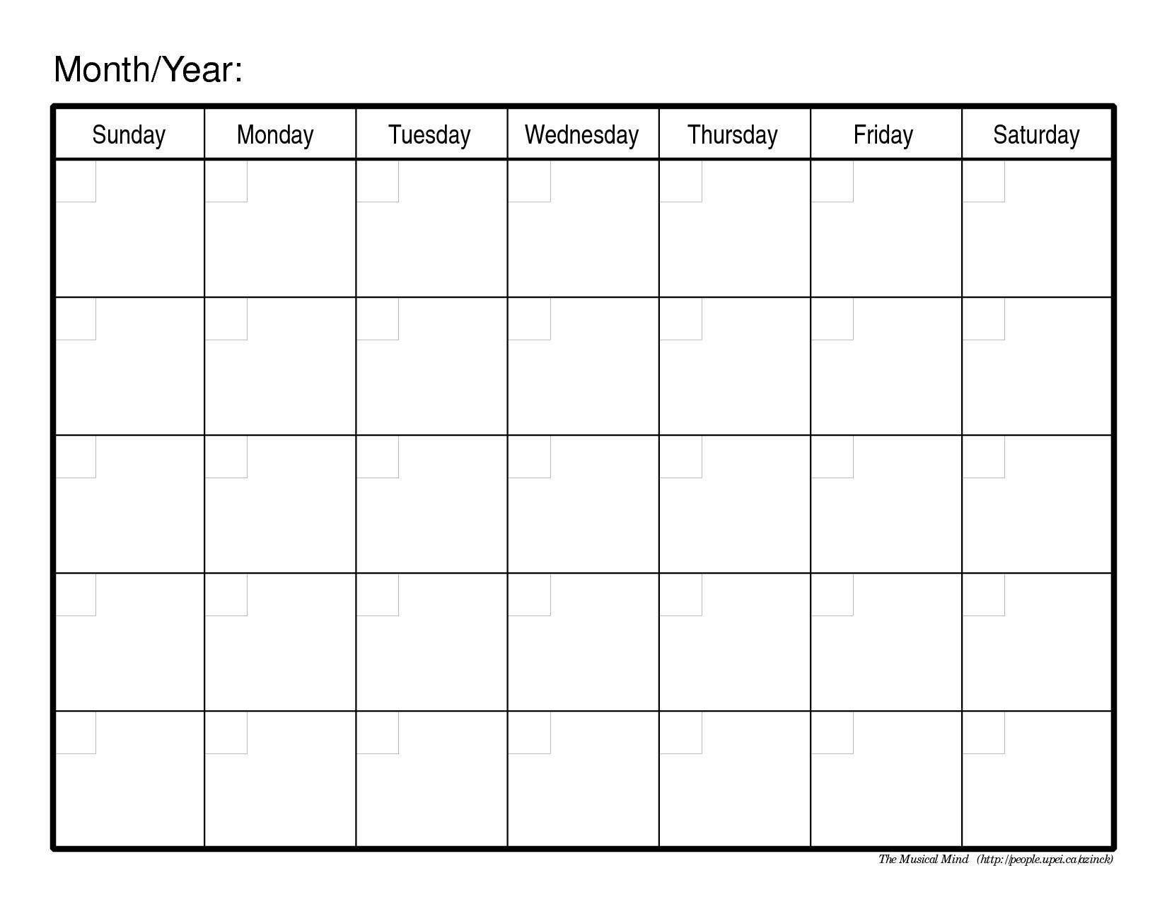 Printable Monthly Calendar Templates