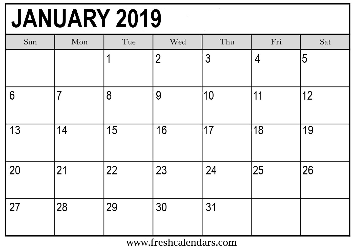 Printable Monthly Calendar Templates January 2019 Calendar Printable Fresh Calendars