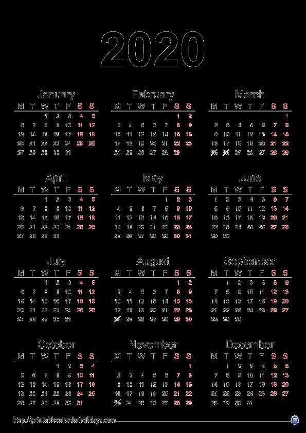 2020 Yearly Calendar Printable Printable 2017 2018 2019