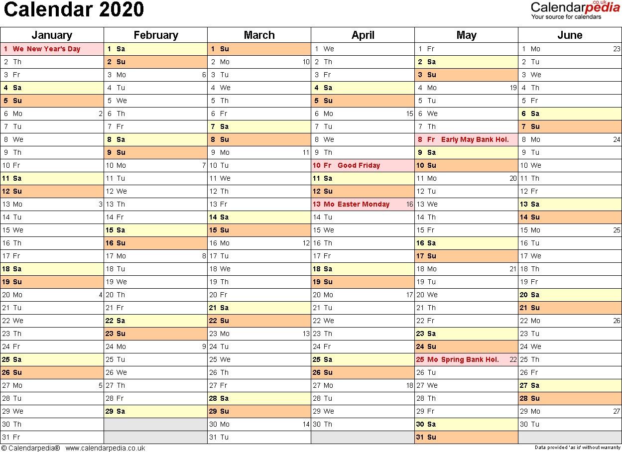 Yearly Printable Calendar 2020 Calendar 2020 Uk 16 Free Printable Pdf Templates