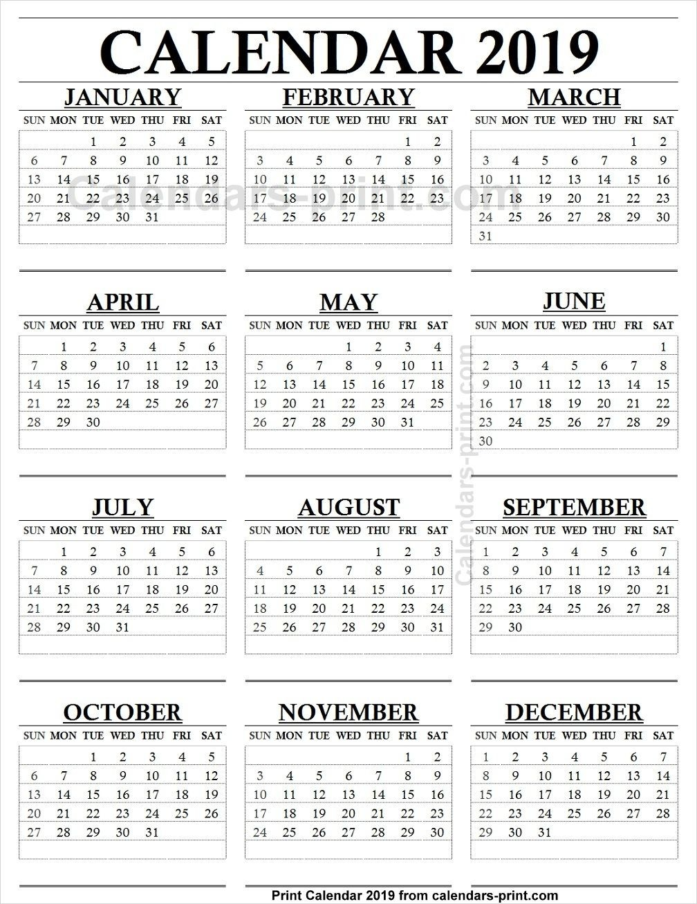 12 Month Calendar 2019 e Page