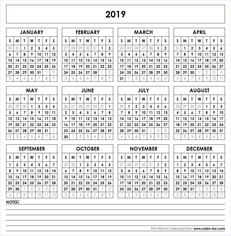 12 Month Printable Calendar 2019 2019 Printable Calendar 12 Month