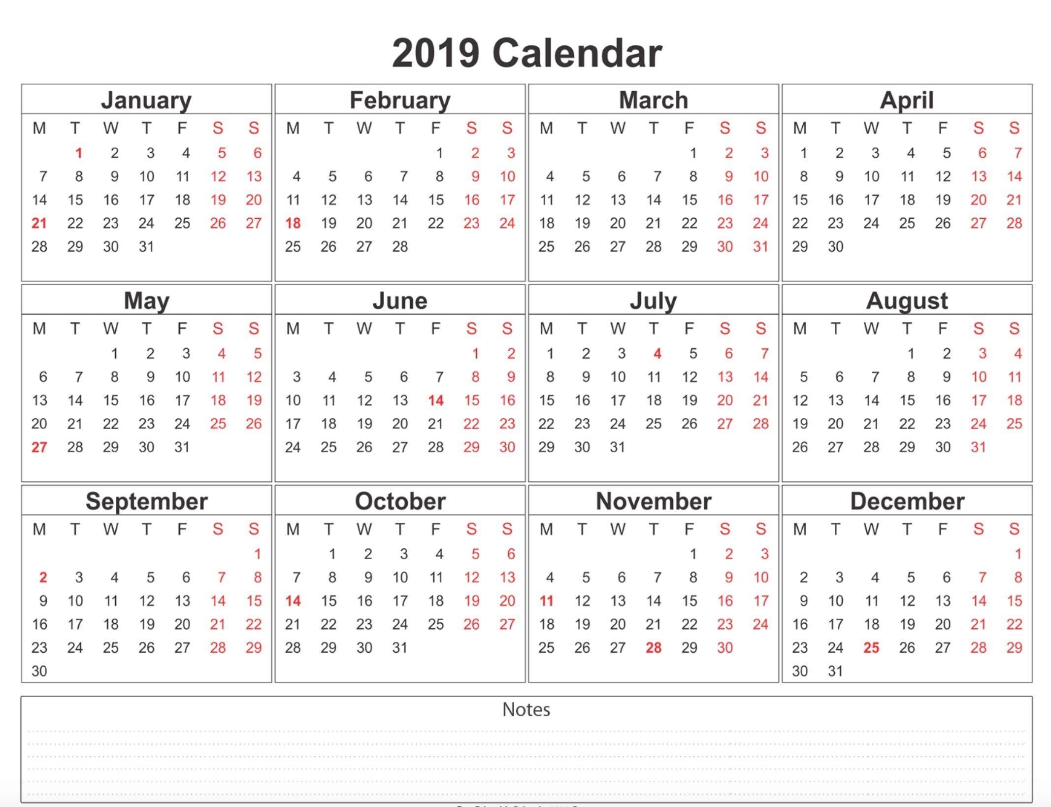 12 Month Printable Calendar 2019 2019 Weekly Calendar Printable Calendar2019