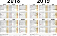 2 Year Printable Calendar Two Year Calendars for 2018 & 2019 Uk for Pdf