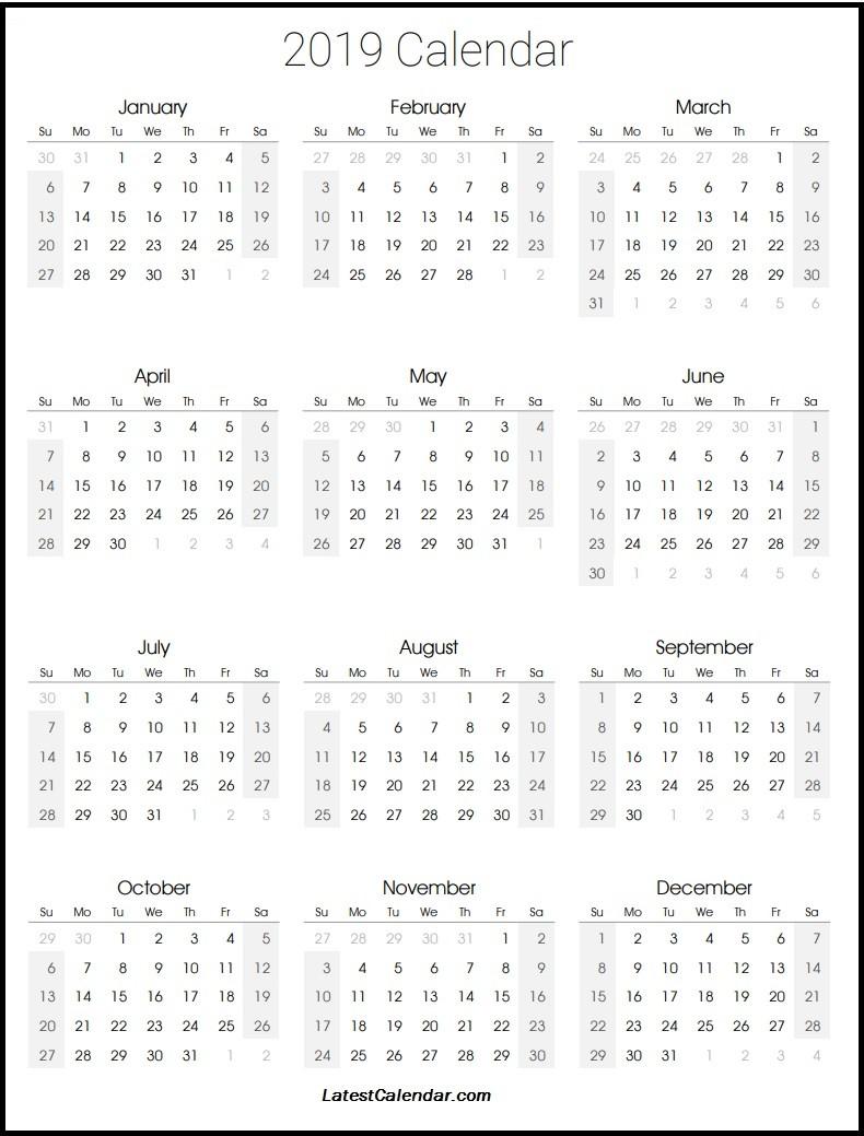 2019 Calendar Printable Template 2019 Printable Calendar