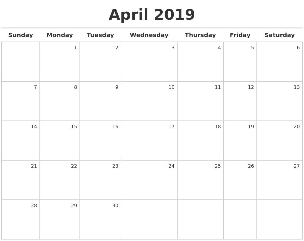 2019 Calendar Printable Template April 2019 Printable Calendar Blank Templates Holidays