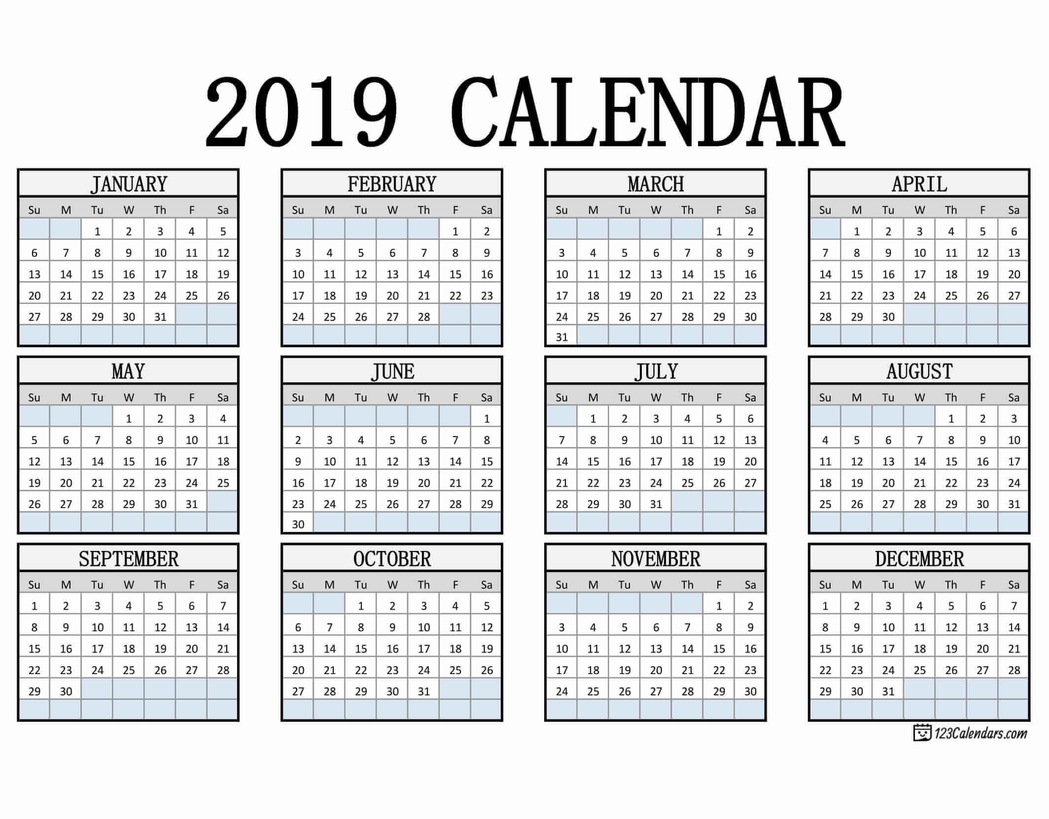 2019 Calendar Printable Template Free Printable 2019 Calendar