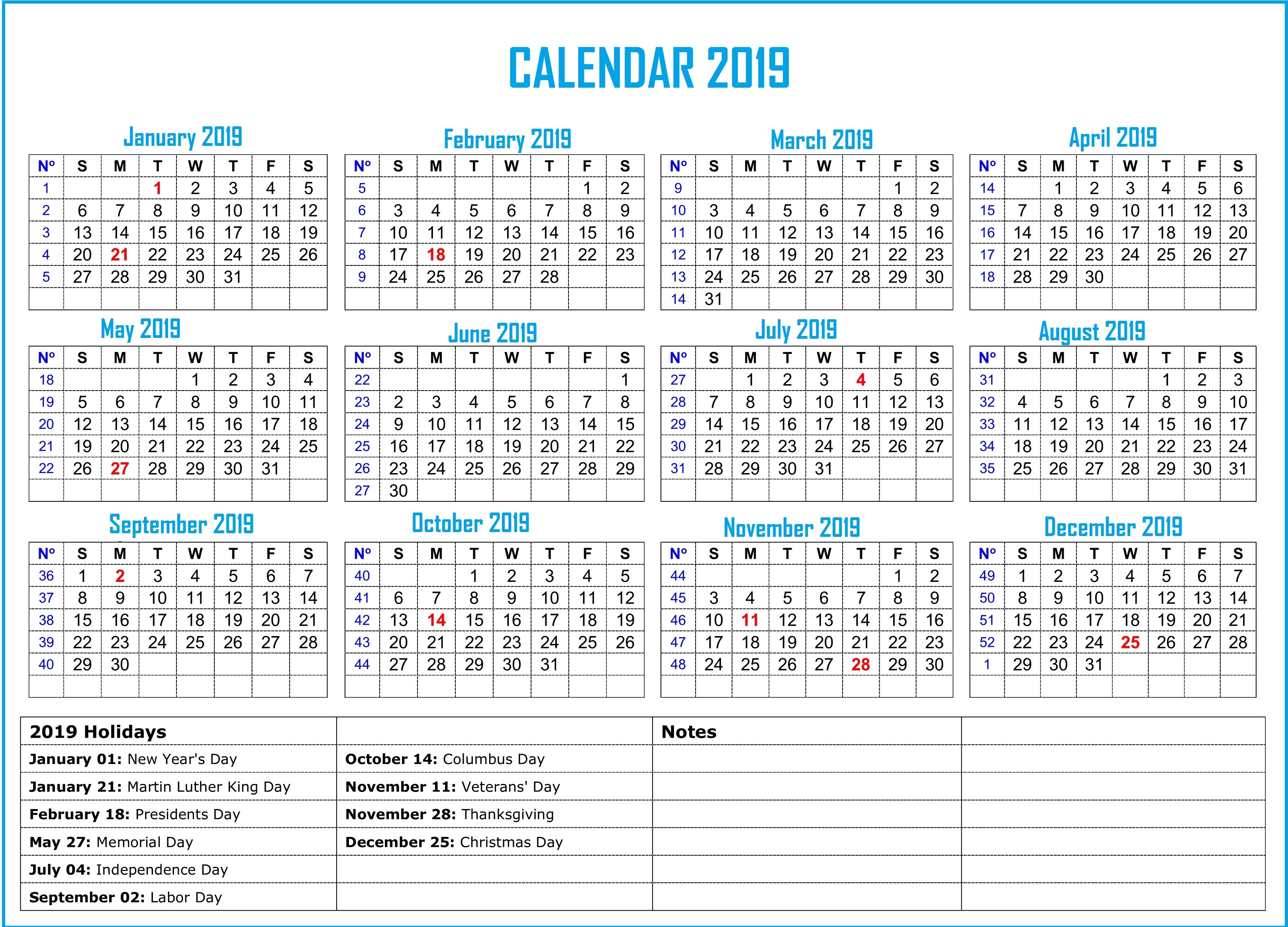 2019 Calendar with Holidays Printable 2019 Calendar with Holidays