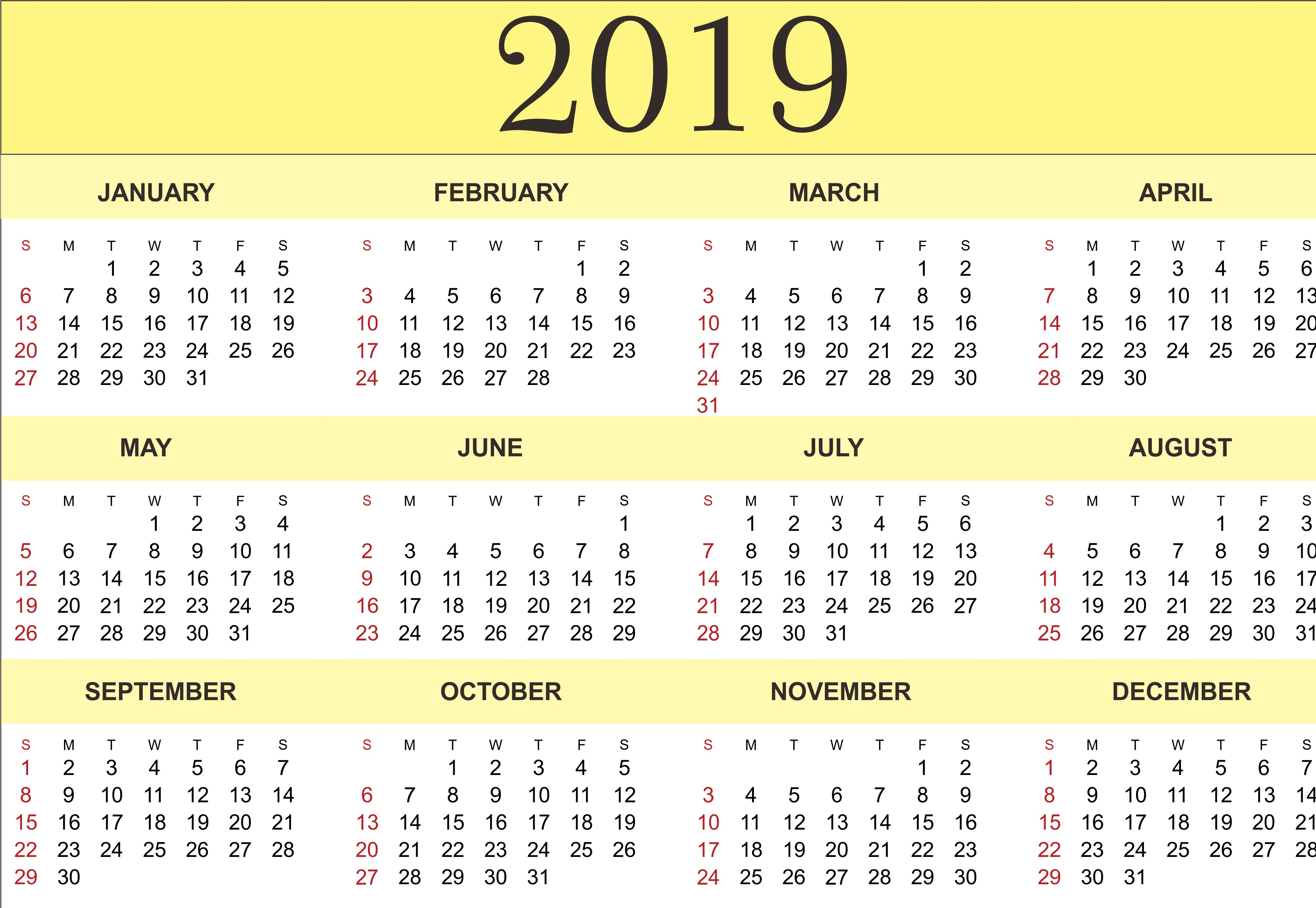 2019 Calendar with Holidays Printable 2019 Printable Calendar Templates Pdf Excel Word Free
