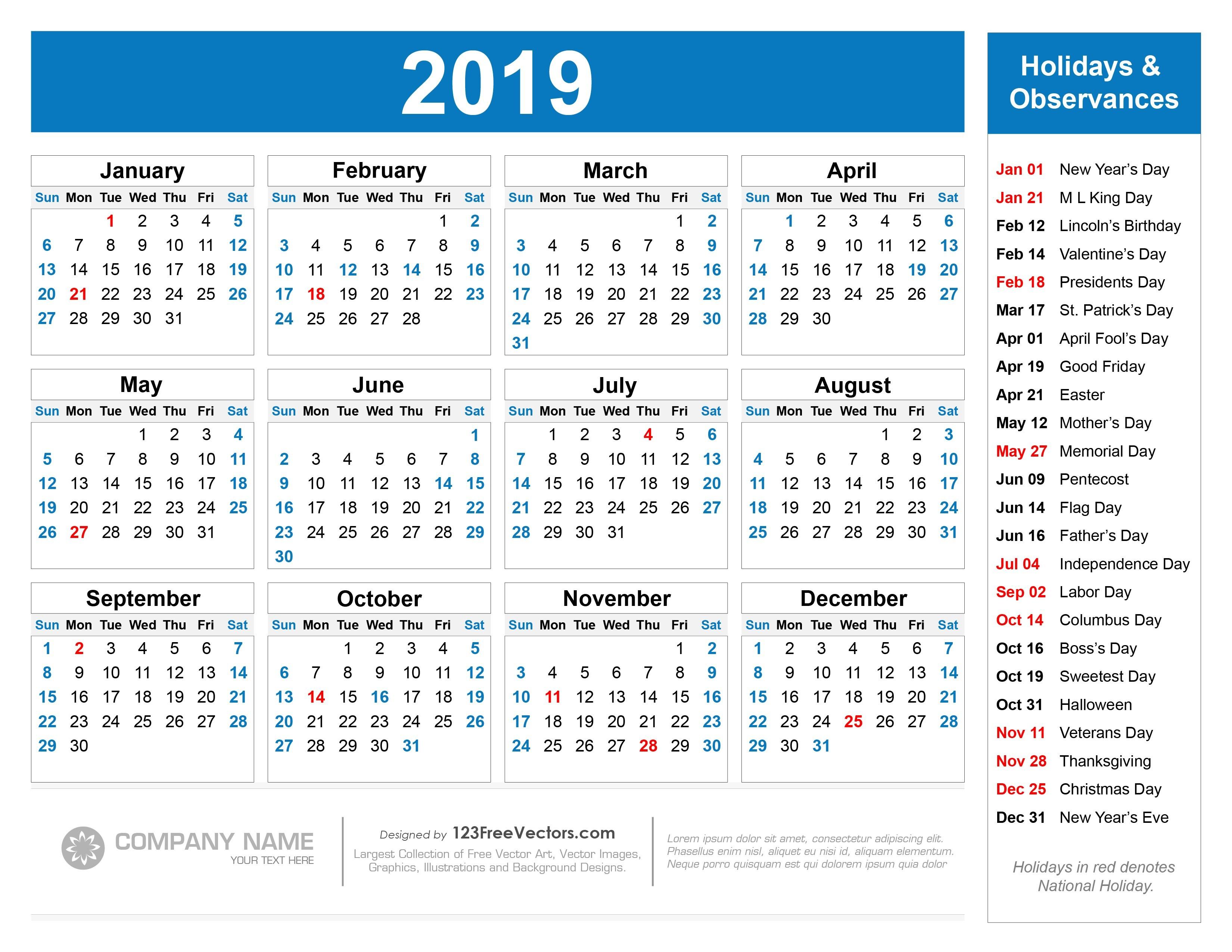 2019 Calendar with Holidays Printable Free Printable 2019 Calendar with Holidays