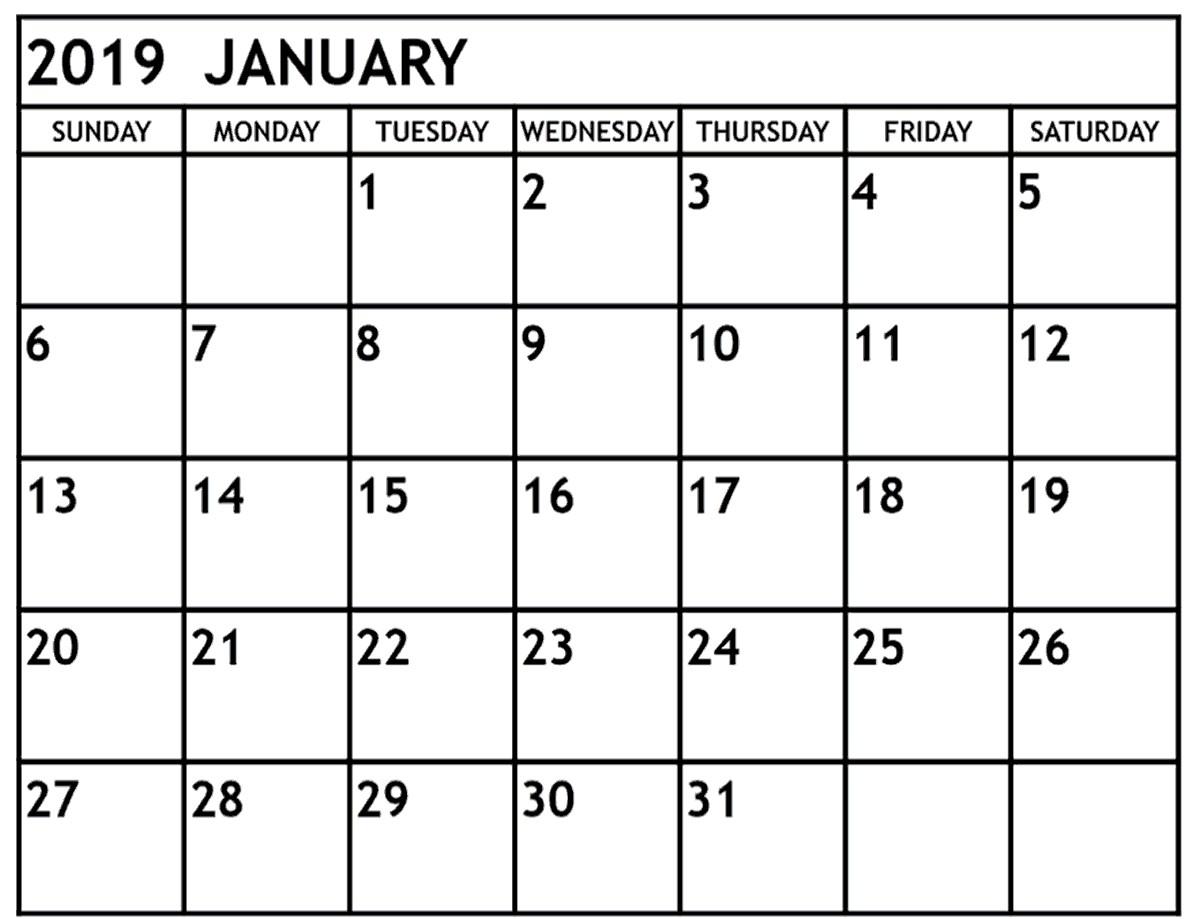 2019 Calendar with Holidays Printable January 2019 Calendar with Holidays Usa Free Printable