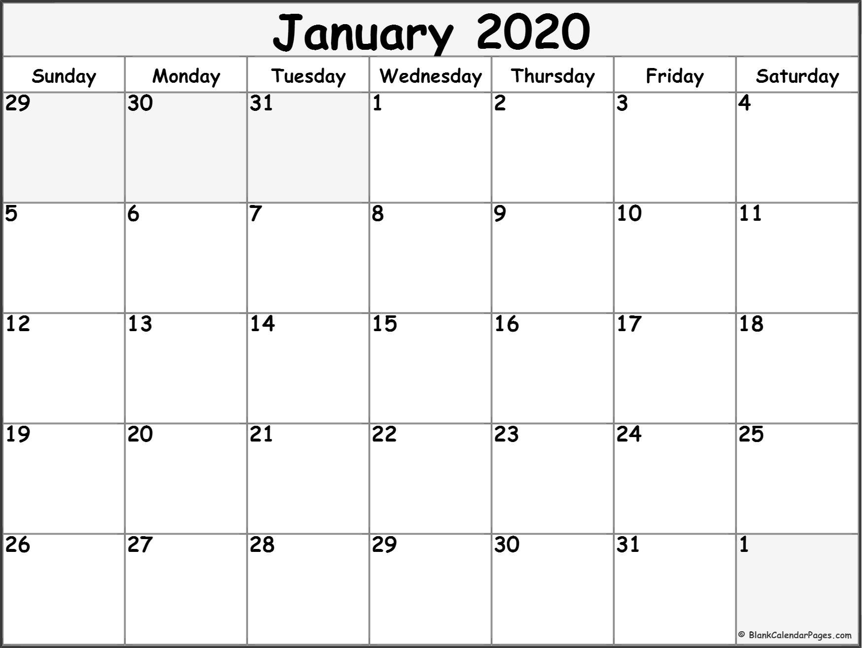 2020 Blank Printable Calendars