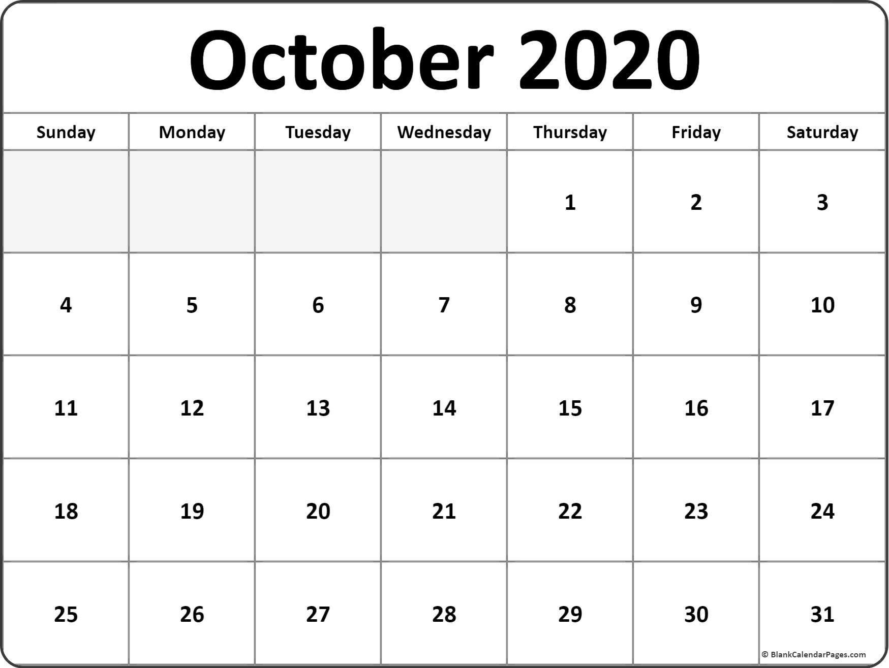 2020 Blank Printable Calendars October 2020 Calendar