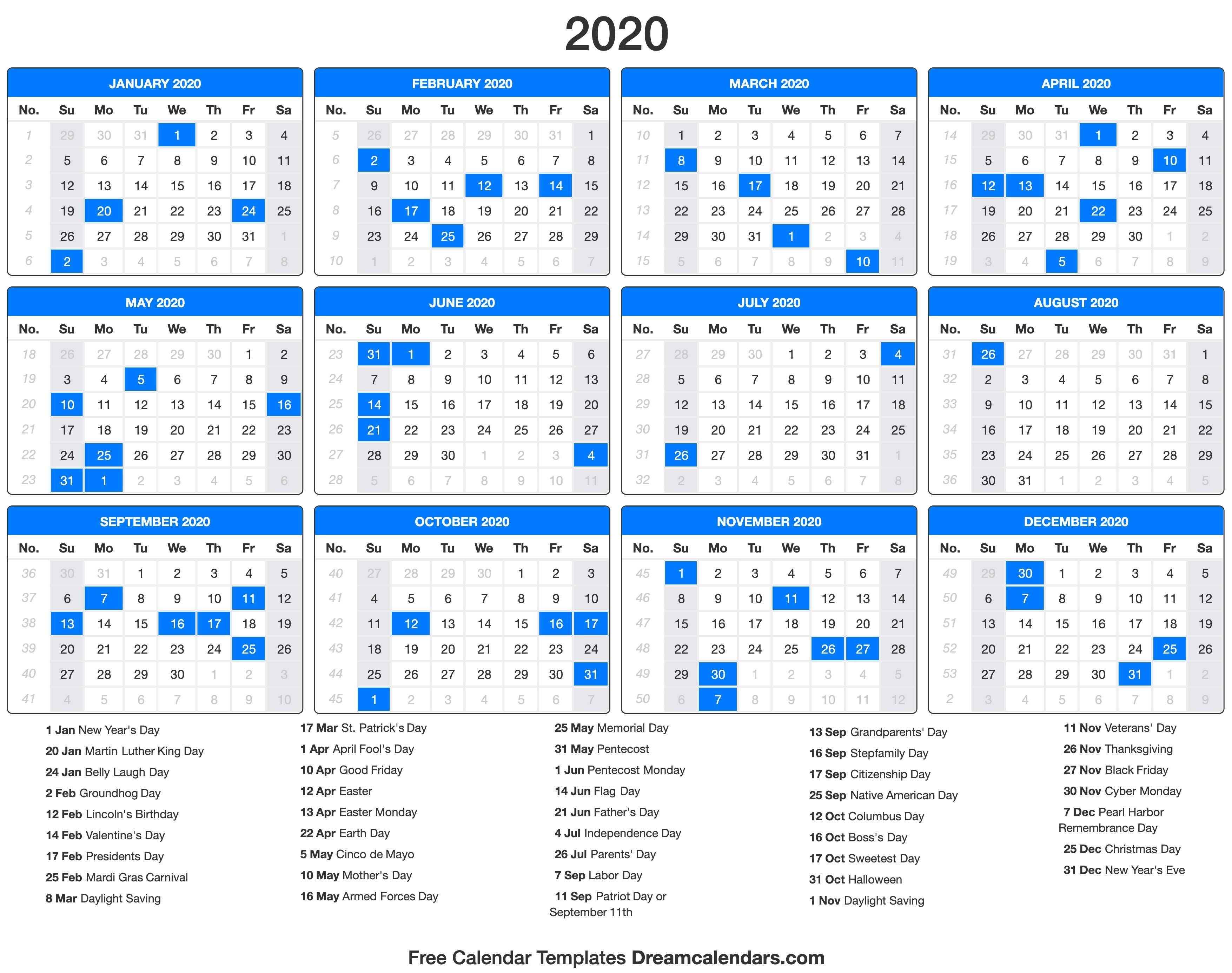2020 Calendar with Bank Holidays Printable 2020 Calendar