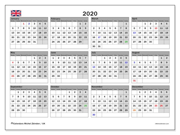 2020 Calendar UK Michel Zbinden EN