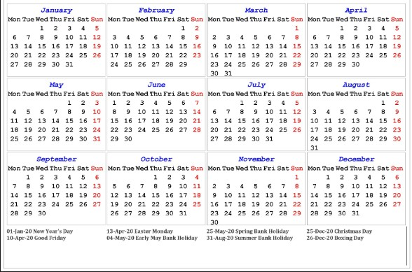 2020 Calendar with Bank Holidays Printable Free Uk Public Holidays 2020 Calendar