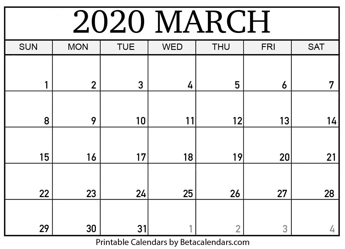 Blank March 2020 Calendar Printable Beta Calendars