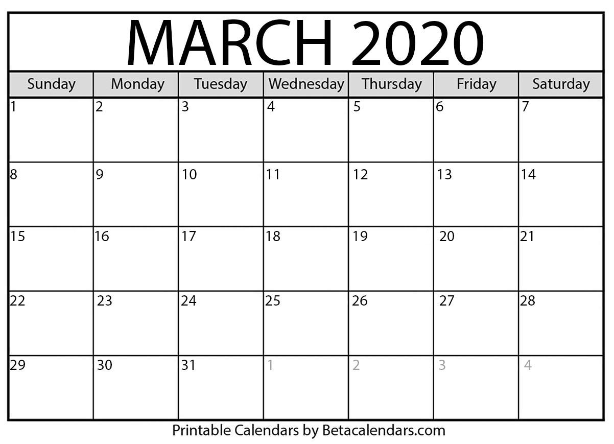 2020 March Calendar Printable