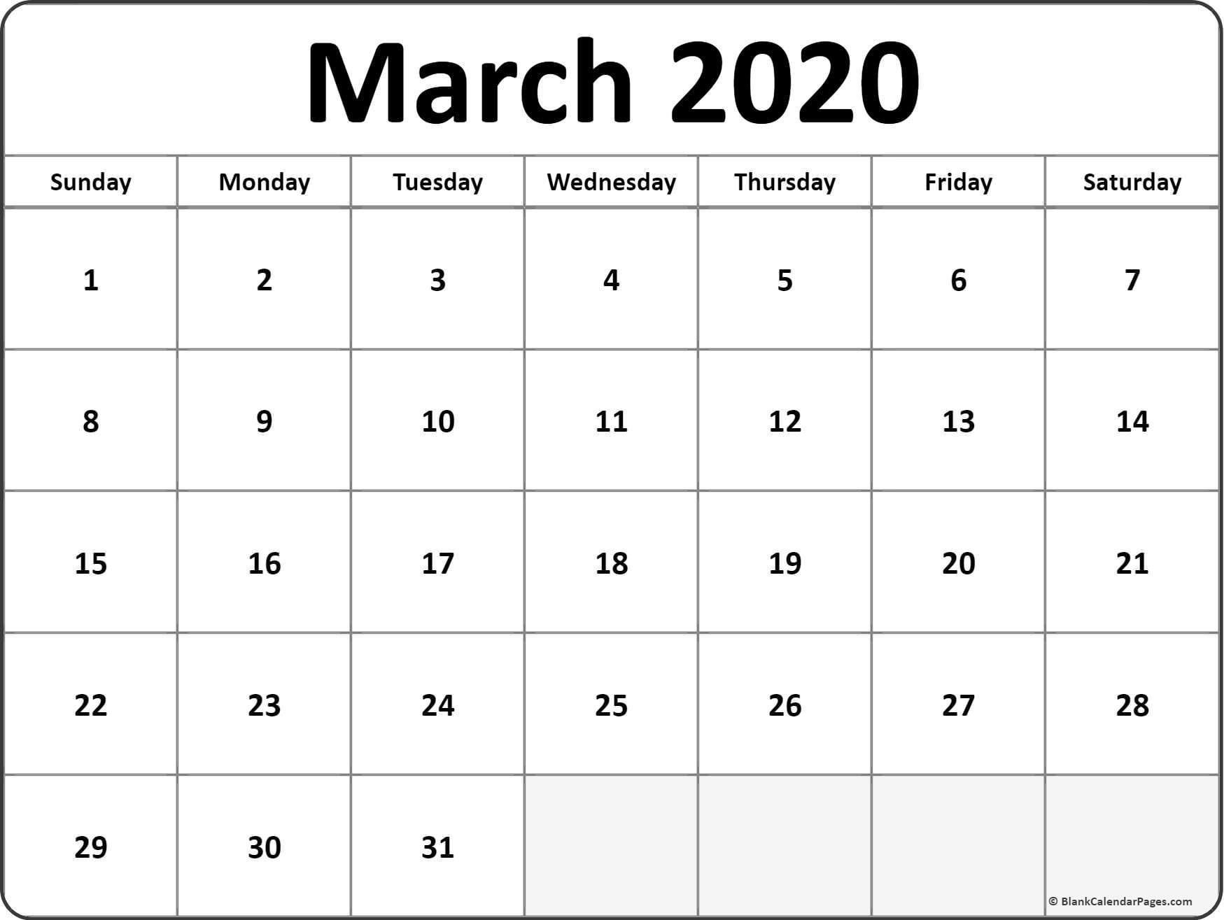 March 2020 blank calendar templates