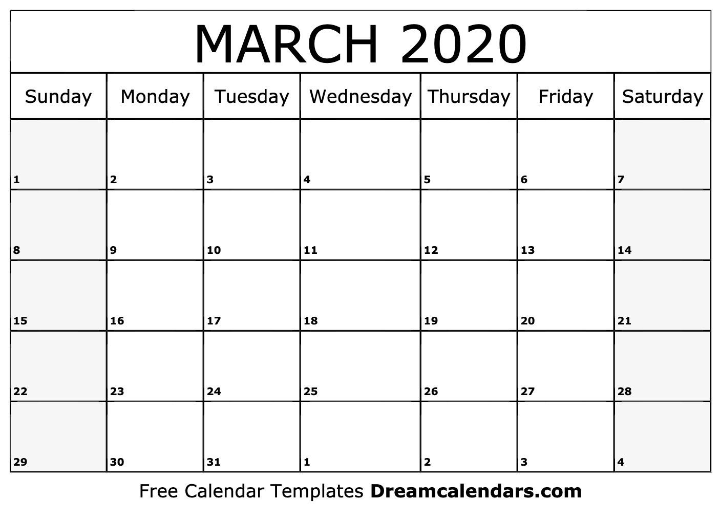 2020 March Calendar Printable March 2020 Calendar