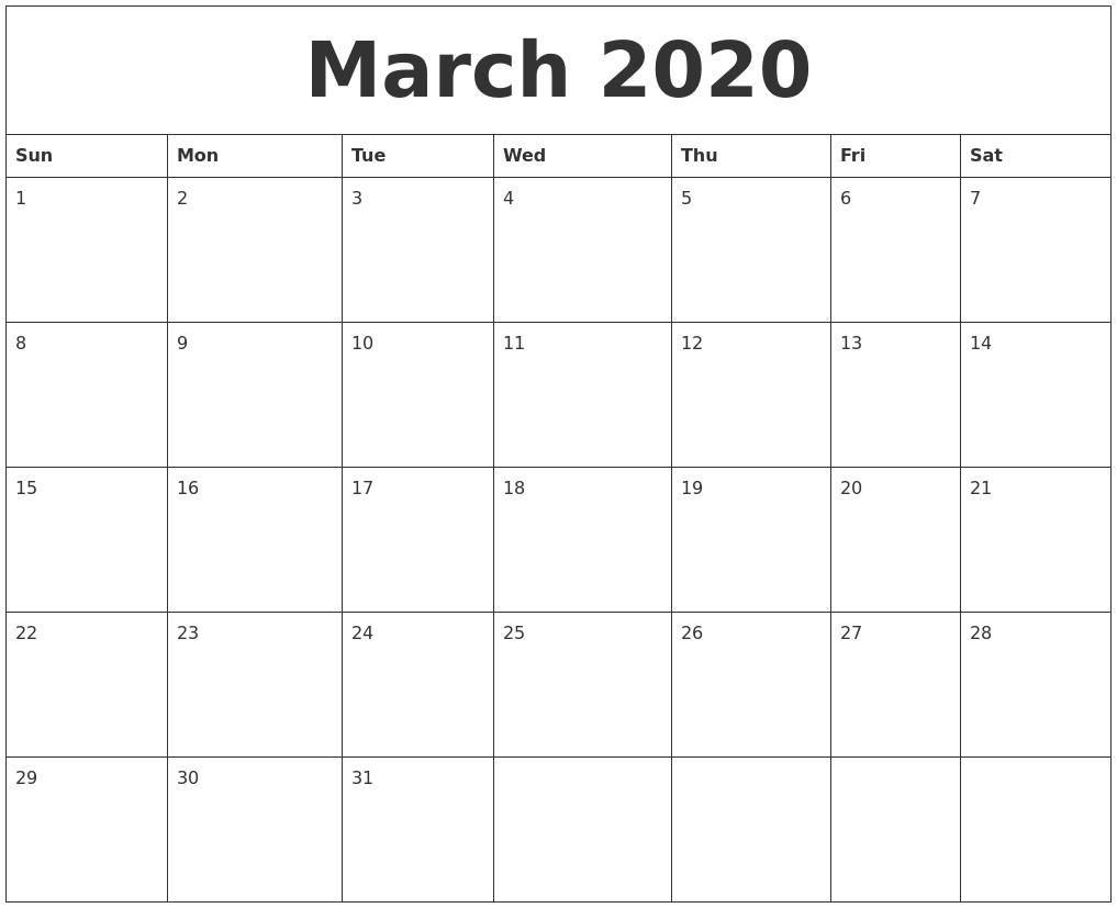 2020 March Calendar Printable March 2020 Create Calendar