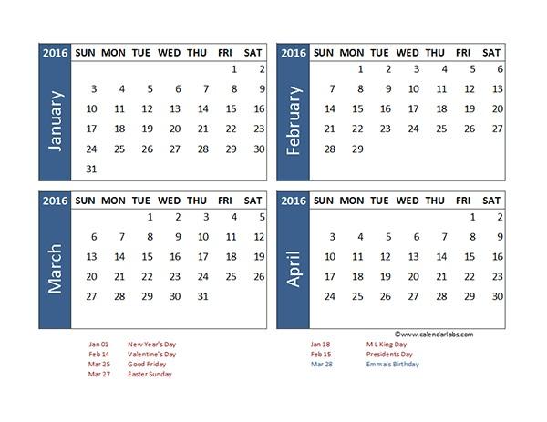 4 Month Printable Calendar 2016 Excel 4 Month Calendar Template Free Printable