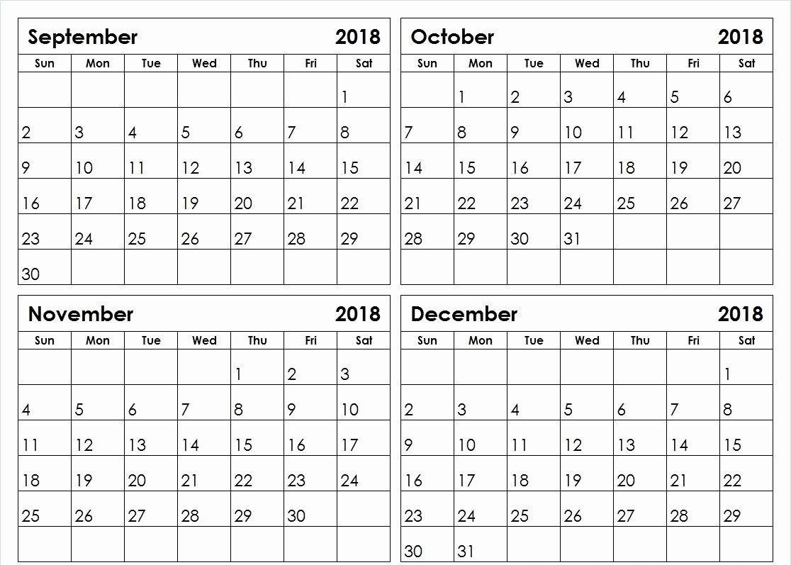 4 Month Printable Calendar
