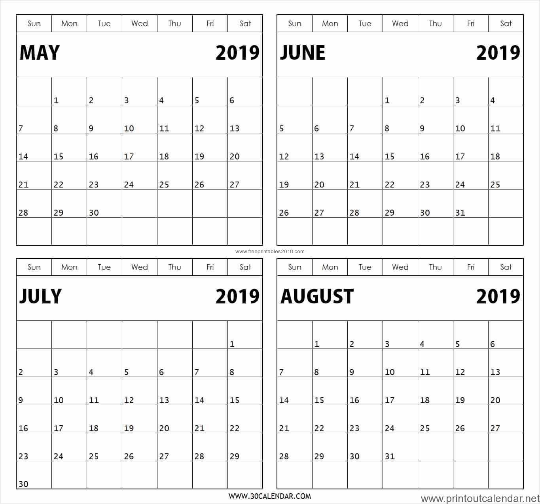 4 Month Printable Calendar 2019