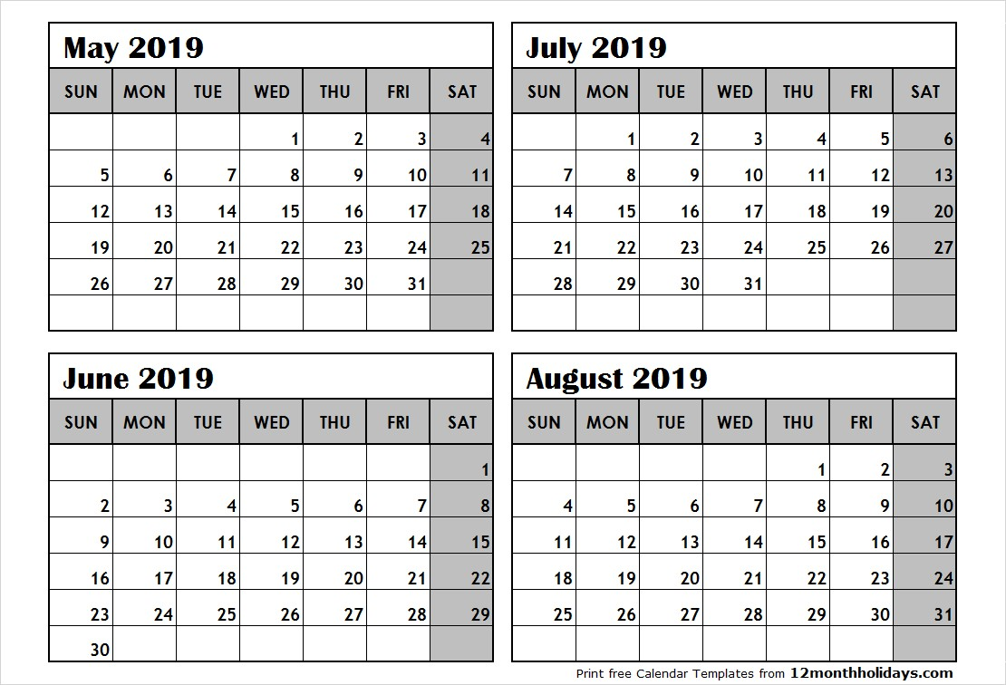 Printable 2019 Calendar 3 Months Per Page