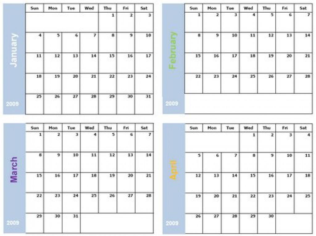 4 Month Printable Calendar Printable 6 Month Calendar Six Months Per Page Thumbnail