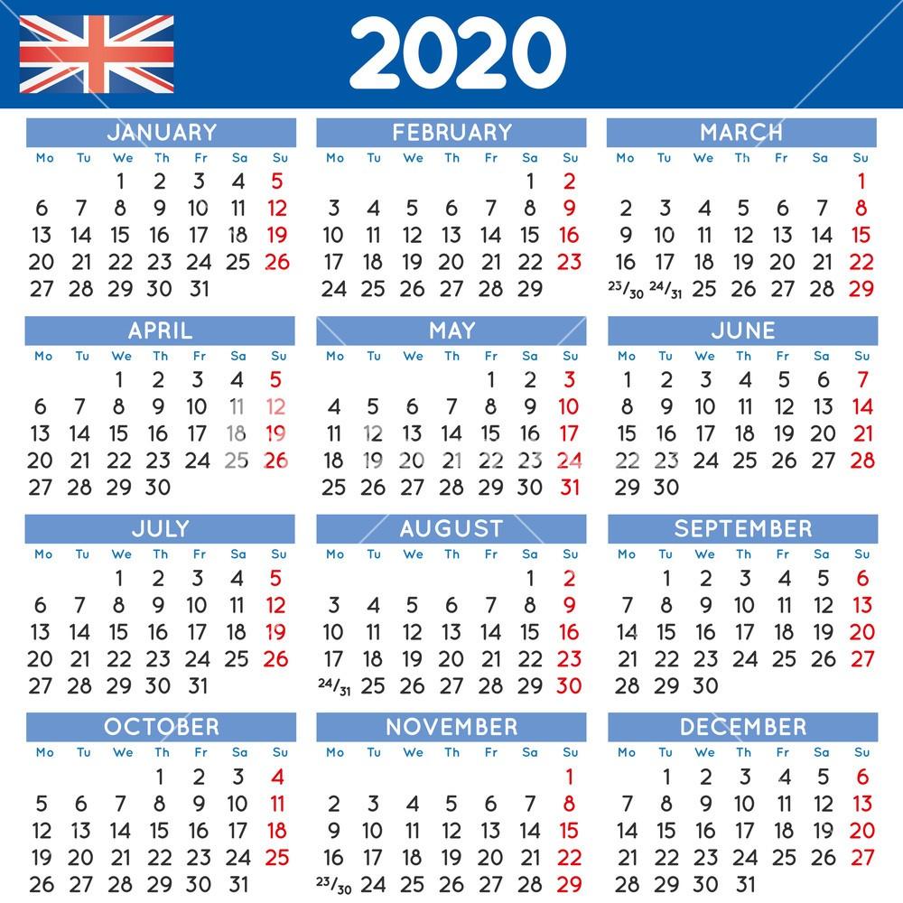 2020 elegant squared calendar english UK Year 2020