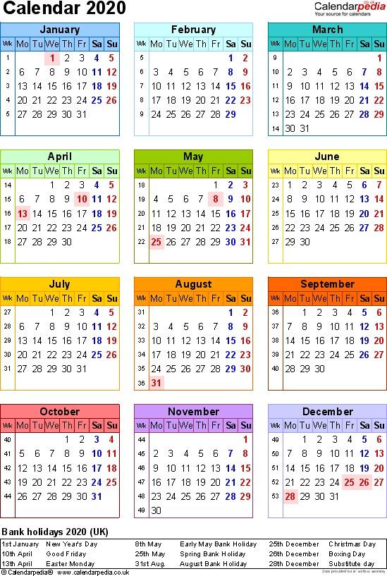 Calendar 2020 Printable Uk Calendar 2020 Uk 16 Free Printable Word Templates