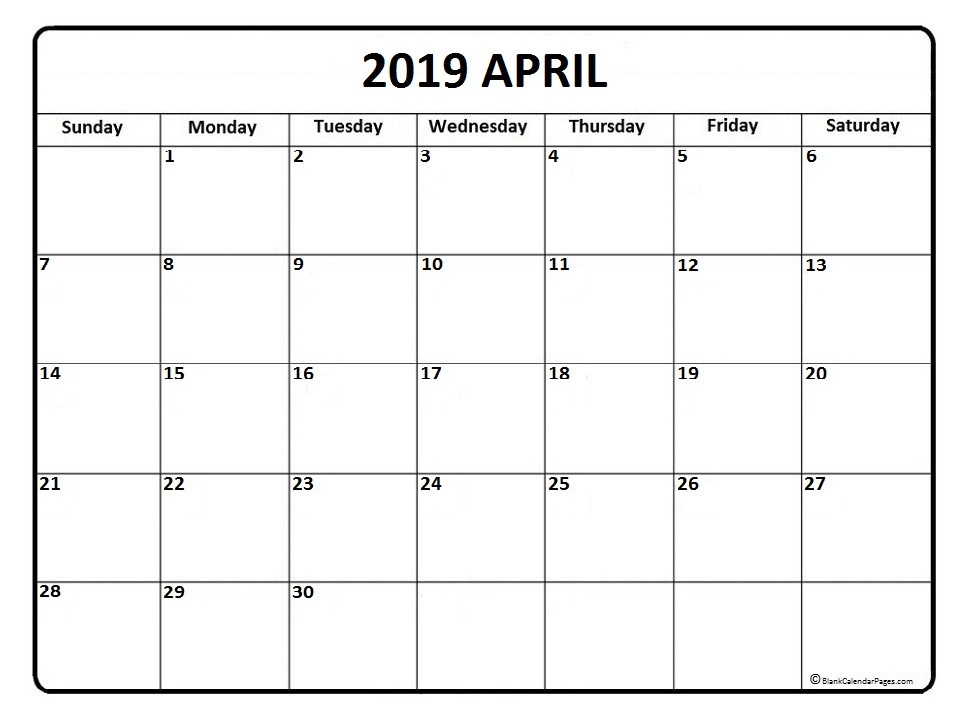 April 2019 calendar April 2019 calendar printable