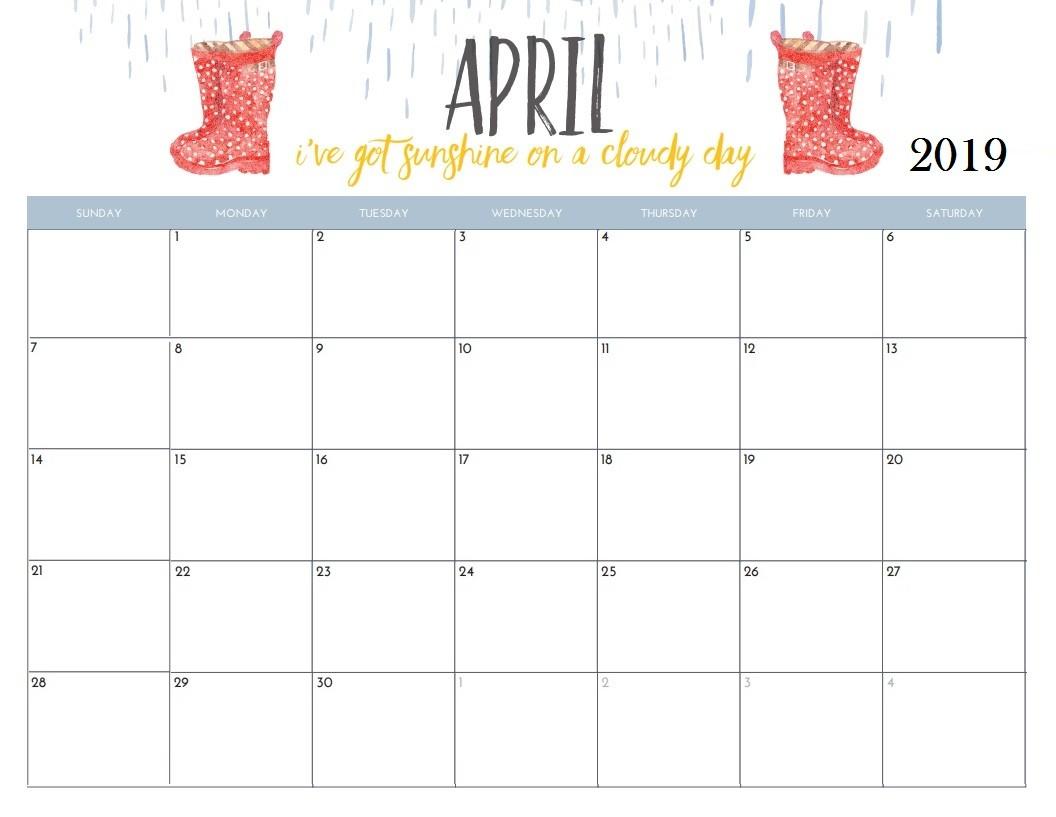 Calendar April 2019 Printable April 2019 Calendar