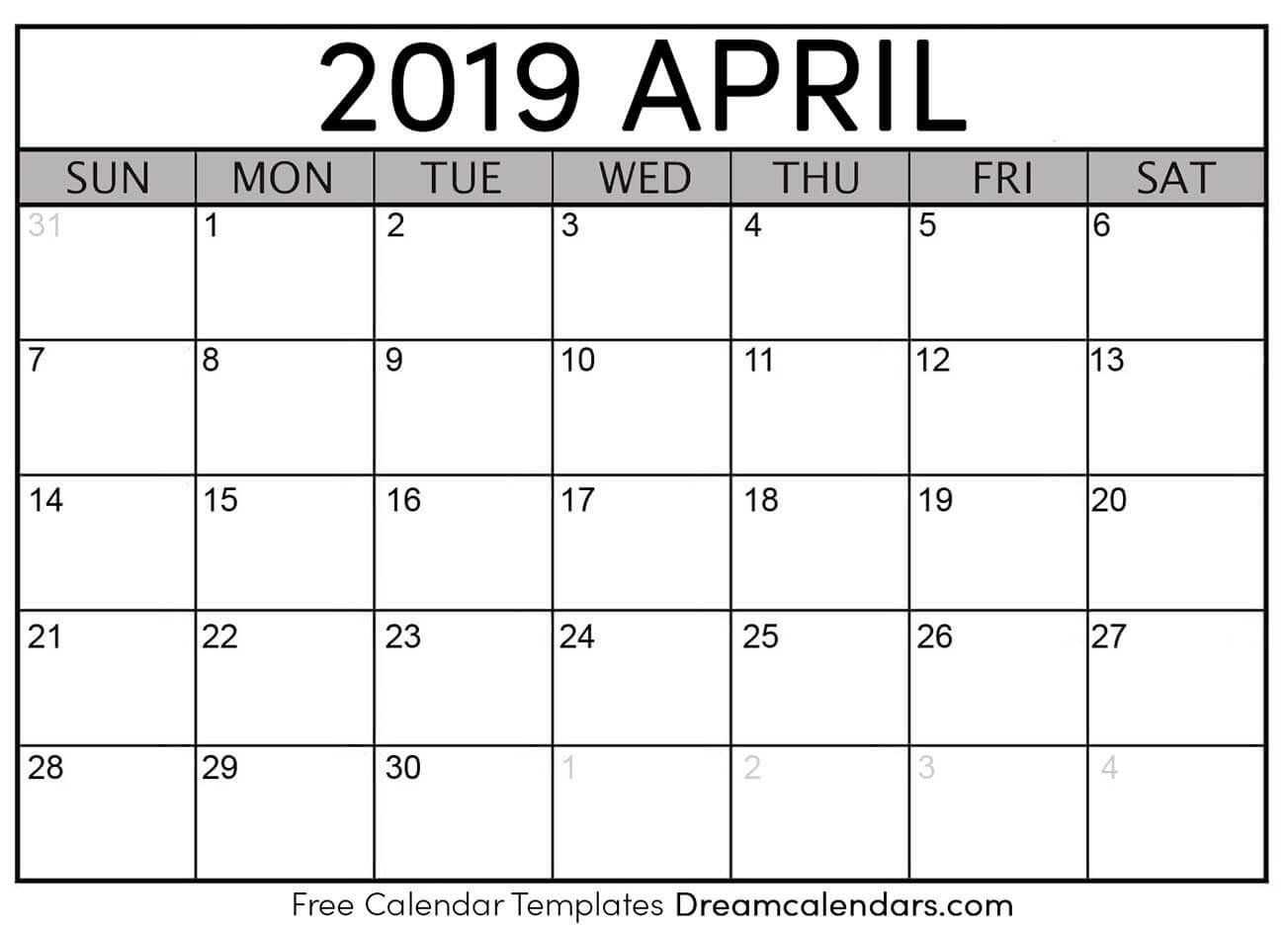 Calendar April 2019 Printable