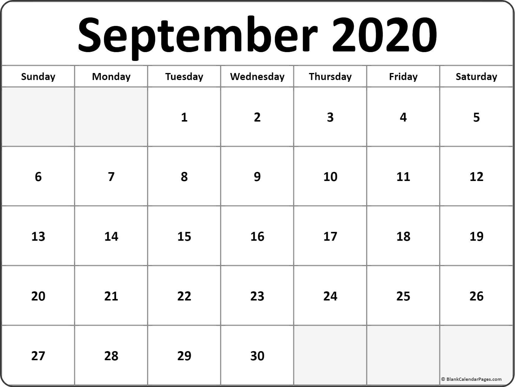 Calendar for September 2020 Printable September 2020 Blank Calendar Templates